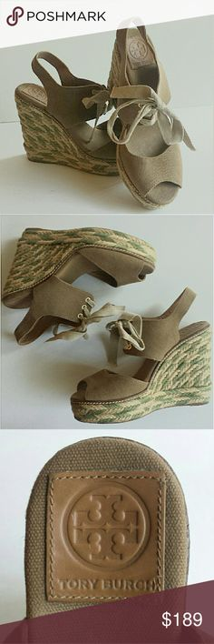 Tory Burch Linley Espadrille Wedges sz 9 Excellent condition as you can see from pictures. Very gently worn once, No signs of wear, like new Tory Burch Tan and Green Wedges. The detailing on the wedge heel is just exquisite and unique, definitely makes the shoe stand out. Style these heels with jeans, or dresses and skirts with neutral toned tops.  A GREAT DEAL Tory Burch Shoes Wedges