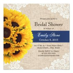 rustic sunflowers lace and burlap bridal shower custom invitation 215 bridal shower bridal