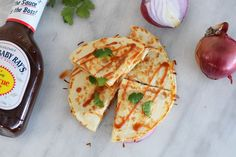 Sweet and tangy BBQ chicken quesadillas are a great way to spruce up your weeknight dinner routine. Bbq Chicken Quesadilla, Quesadilla Recipes, Barbecue Chicken, Mexican Quesadilla, Fish Recipes, Beef Recipes, Chicken Recipes, Mexican Recipes, Homemade Tacos