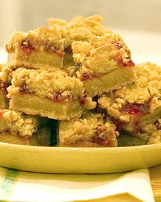 Peanut Butter and Jelly Bars  Strawberry jam is sandwiched between layers of rich peanut-butter cookie dough. You can also use apricot, blackberry, or raspberry jam if you prefer.  Get the Peanut Butter and Jelly Bars Recipe