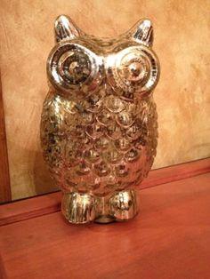 Owl Vintage Mercury Glass Looking