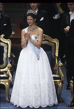 Sweden's Queen Silvia in white gown from the 1984 Nobel Prizes