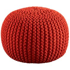 Consider adding a pouf. More than just a fun accessory, a pouf of the appropriate size can be tucked beneath your desk to use as a footrest. When not needed, you can pull it out and use it as a mini side table for stacks of books and magazines. Knitted Pouf, Knit Crochet, Knitted Ottoman, Knitting Projects, Crochet Projects, Knitting Patterns, Crochet Patterns, Cotton Cord, Floor Pouf