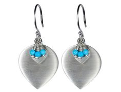 Me&Ro Sterling Silver Lotus Petal Earring with Turquoise
