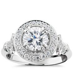 .70 - .80 ct. Monique Lhuillier Vintage Floral Halo Diamond Engagement Ring in Platinum (1/4 ct. tw.)