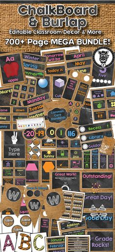 Burlap and Chalkboard Classroom Theme / Decor / Organization Mega Bundle. Includes behavior chart, schedule cards, posters, classroom labels, binders, management tools, printable decorations, classroom organization and more!