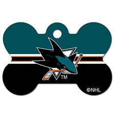 Personalized Laser Engraved 15 x 1 inch San Jose Sharks Bone Shape Pet ID Tag  Free Tag Silencer ** You can find out more details at the link of the image. This is an Amazon Affiliate links.