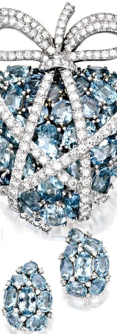 ❇Téa Tosh❇ Platinum, Aquamarine and Diamond Brooch and Earclips. The 'wrapped heart' brooch set with 36 variously-cut aquamarines, accented by ribbons set with round diamonds weighing approximately 3.00 carats, signed Verdura, with maker's mark;...