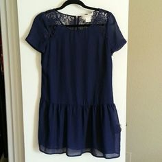 Urban Outfitters Coincidence and Chance Dress Navy Blue Lace Collar Dropwaist Dress Urban Outfitters Dresses Mini