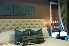 DIY Ottoman Coffee Table Part 1 - How To Do Diamond Tufting - Addicted 2 Decorating® Diy Tufted Headboard, Diy Headboards, Tufting Diy, Headboard Ideas, Home Bedroom, Master Bedroom, Bedroom Decor, Bedroom Colors, Bedroom Ideas