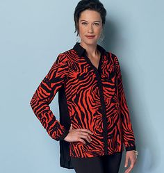 A classic and flattering new top pattern from Butterick featuring pleated or gathered back options. B6288, Misses' Shirt