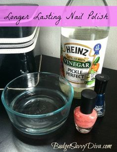 To make your nail polish last longer, before you paint your nails soak them in a cup of warm water with a couple tablespoons of vinegar. Vinegar removes the excess oils from your nail and allows the nail polish to form a stronger bond with your nail.