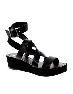 Enlarge ASOS VENUS Leather Flatform Sandals