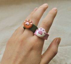Fimo Ring, Polymer Clay Ring, Polymer Clay Crafts, Diy Clay Rings, Clay Cats, Clay Art Projects, Cute Clay, Chunky Rings, Gifts For Pet Lovers