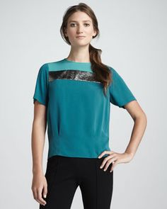 Pleated Waist Darla Colorblock Top by Diane von Furstenberg at Neiman Marcus.