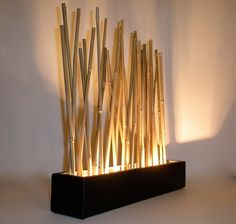 Bamboo mood lamp - Modern Japanese style tabletop LED accent lighting. $180.00, via Etsy.
