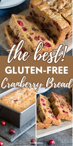 This homemade light and fluffy gluten free cranberry chocolate chip bread is perfect for breakfast, brunch, or even dessert. This is the best dessert for fall! www.fearlessdining.com Good Gluten Free Bread Recipe, Bread Recipes, Cooking Recipes, Chocolate Chip Bread, Cranberry Bread, Allergy Free Recipes, Fun Desserts, Food Network Recipes, The Best