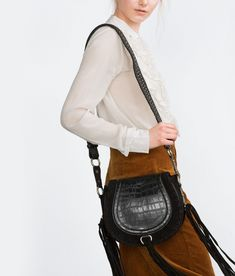 c585e0b1431f zara-black-leather-messenger-bag-with-fringe Black Leather Messenger