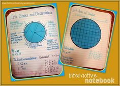 Area and Circumference of Circles Interactive Notebook Pages