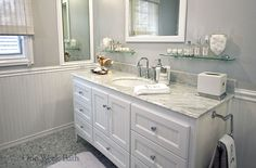 One Week Bath Remodeling Photos - white bathroom with gray tile
