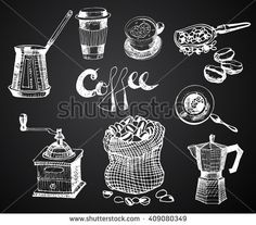 Hand Drawn Coffee Set. Vector Graphic illustration. design Elements for menu, Restaurant, Store, Coffee Shop.