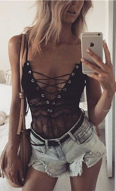 Women Chic Lace-up Strappy Bodysuit Sexy See-through Lace Lingerie