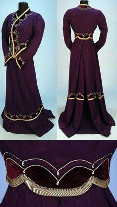 Dress read more at Gothic_Valery 1900 Clothing, Edwardian Clothing, Antique Clothing, Historical Clothing, Victorian Dresses, Historical Dress, 1900s Fashion, Edwardian Fashion, Vintage Fashion
