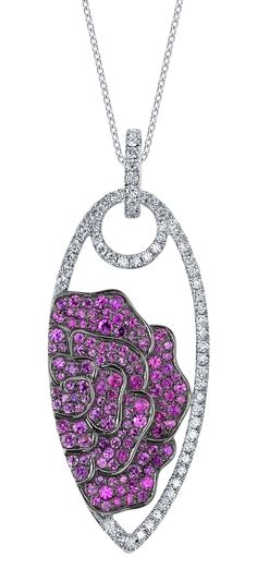 Pink Sapphire + Diamond pendant set in 18K White Gold + Rose Gold & surrounded by Black Rodium.
