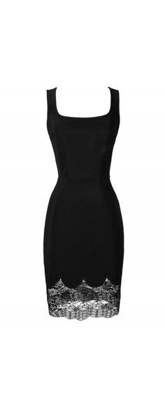 Little Goes A Long Way Fitted Lace Trim Dress in Black www.lilyboutique.com