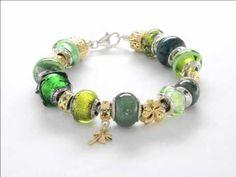 Green & Gold Celtic Inspired Bracelet