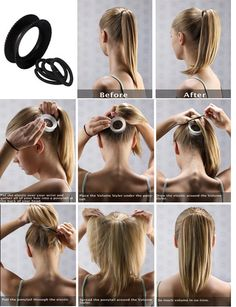 Here are the steps of how to use the Volume Styler: Gather all of your hair into a ponytail at the back of your head. Put the Volume Styler just below your ponytail. Wrap the elastic band around the volume styler while tieing your ponytail. Spread the ponytail over the Volume Styler, so that you take maximum advantage of it, but still hide it.
