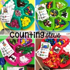 A hands on counting game perfect for preschool, pre-k, and kindergarten. How to create them, how to implement them, and what students are learning. Numbers Preschool, Math Numbers, Preschool Classroom, Preschool Learning, Learning Centers, Kindergarten Math, Toddler Preschool, Teaching Math, Math Centers