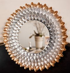 Modern Spoon Mirror...try this in a host of monochromatic colors to match your decor or autumn colors for a festive look!