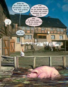 """Huhn: """"Jeden Tag ein Ei legen und im Hof kratzen - Soll das jetzt alles gewesen sein?""""  Schwein: """"Klar, ich will auch noch mal was anderes machen als immer nur Schwein. Irgendwas mit Kunst, oder so. Aber im Moment kann ich mir das einfach noch nicht leisten.""""  Huhn: """"Ich auch nicht."""""""