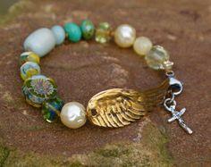 Angel wing boho bracelet  'Wing and a Prayer by Mollymoojewels