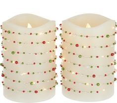 Lightscapes Set of 2 Beaded Light Strand Flameless Candles