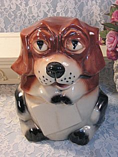 Mccoy Cookie Jar Values Stunning Vintage Mccoy Puppy With Sign Cookie Jar Dog Beagle  Pinterest