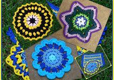 Toalhinhas ou Napperons de Crochet com Fio de Malha ou Trapilhos (Crochet Rag Table Rugs)  helenacc.blogspot.com.br