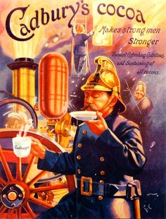 Cadbury's Cocoa--hilarious--so good he can't tear himself away to fight the fire raging behind him