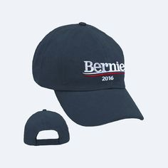 Official Bernie Sanders hat featuring an embroidered Bernie logo. Low profile, velcro back. Union made in the USA.
