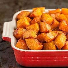 Cinnamon Roasted Butternut Squash is the perfect side dish for any fall/winter meal. Great for holidays, too. Easy, roasted perfection.
