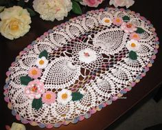 Heirloom crochet doilies set with flowers and by KroneCrochet, $179.00