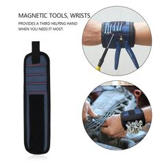 Tool Bags Urijk Tool Wristband 2 Magnet Screws Nail Drill Bits Bracelet For Magnetic Wristband Portable Electrician Storage Tools Bag Delicious In Taste Tools