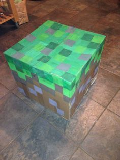 Minecraft grass block Minecraft Birthday Party, Birthday Parties, Grass, Decorative Boxes, Holiday, Projects, Furniture, Home Decor, Anniversary Parties