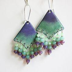Green & Purple Chandelier Earrings, Bohemian Earrings, Mint Green Enamel Bohemian Jewelry