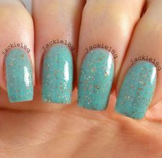Lady Liberty  Minty Aqua Creamy Gold Glitter by LaquerliciousUnity, $9.50