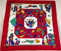 "HERMES ""Ombrelles et Parapluies"" Red Silk Scarf a203 #Hermes #Scarf"