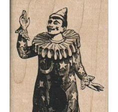 jester Clown moon and stars  circus    stamp by pinkflamingo61