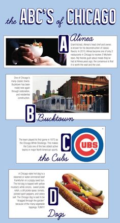 The ABCs of things to do in Chicago. Alinea, Bucktown, Cubs and Dogs.