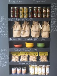 Display shelves with chalkboard paint to allow changing signage